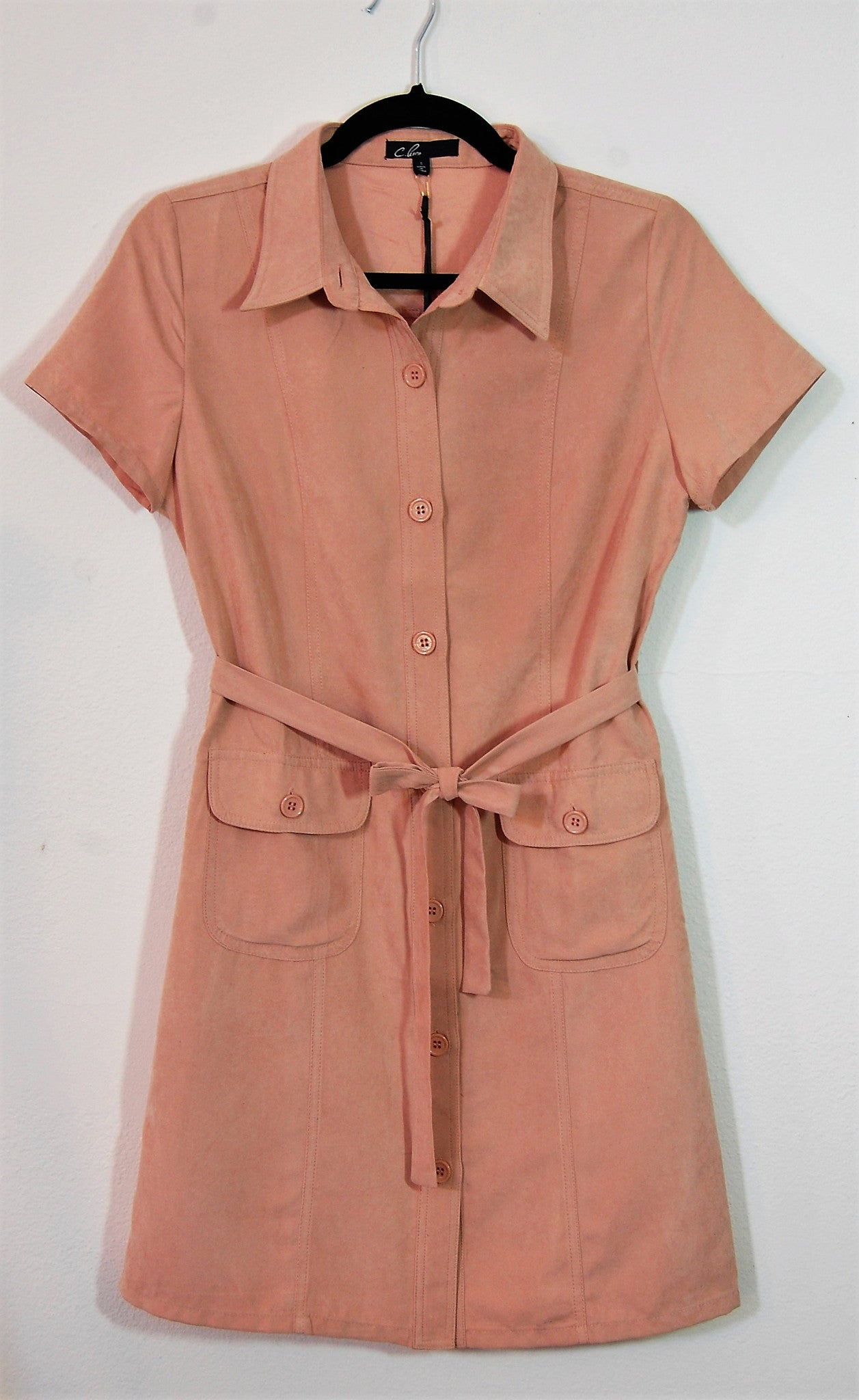 Suede Buttoned Belted Dress