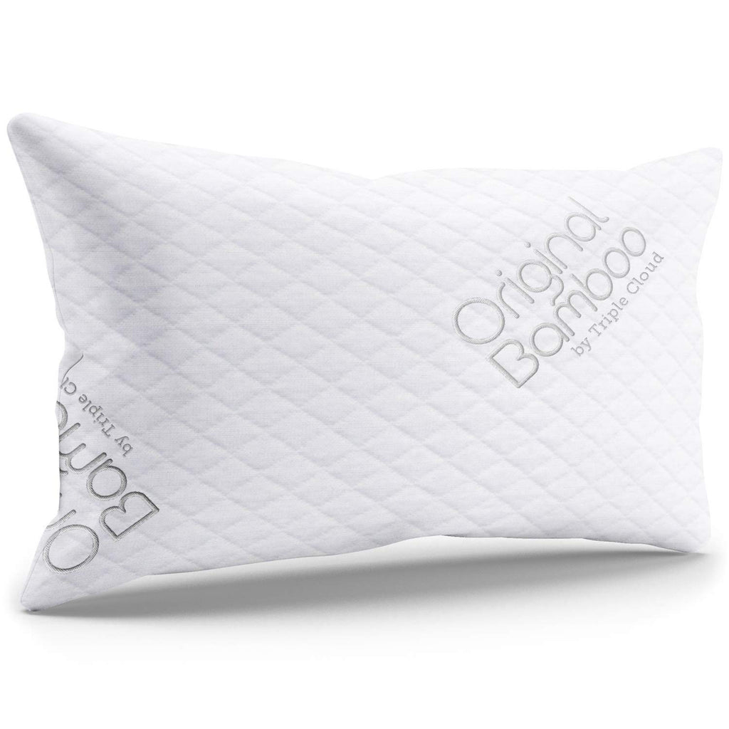 Triple Cloud Premium Luxury Pillows for Sleeping - Shredded Memory Foam Adjustable Firm or Soft Loft King Pillow with Cooling Removable Hypoallergenic Cover - Side or Back Sleepers