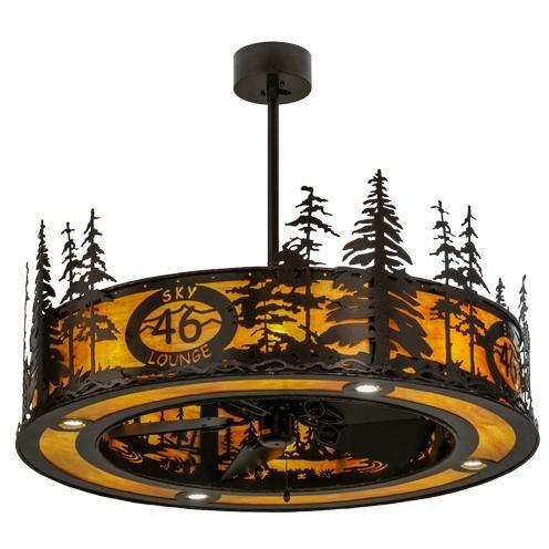 "Meyda Tiffany 45""W Tall Pines Custom Logo Up and Downlight LED Chandel-Air Ceiling Fan - 146112"