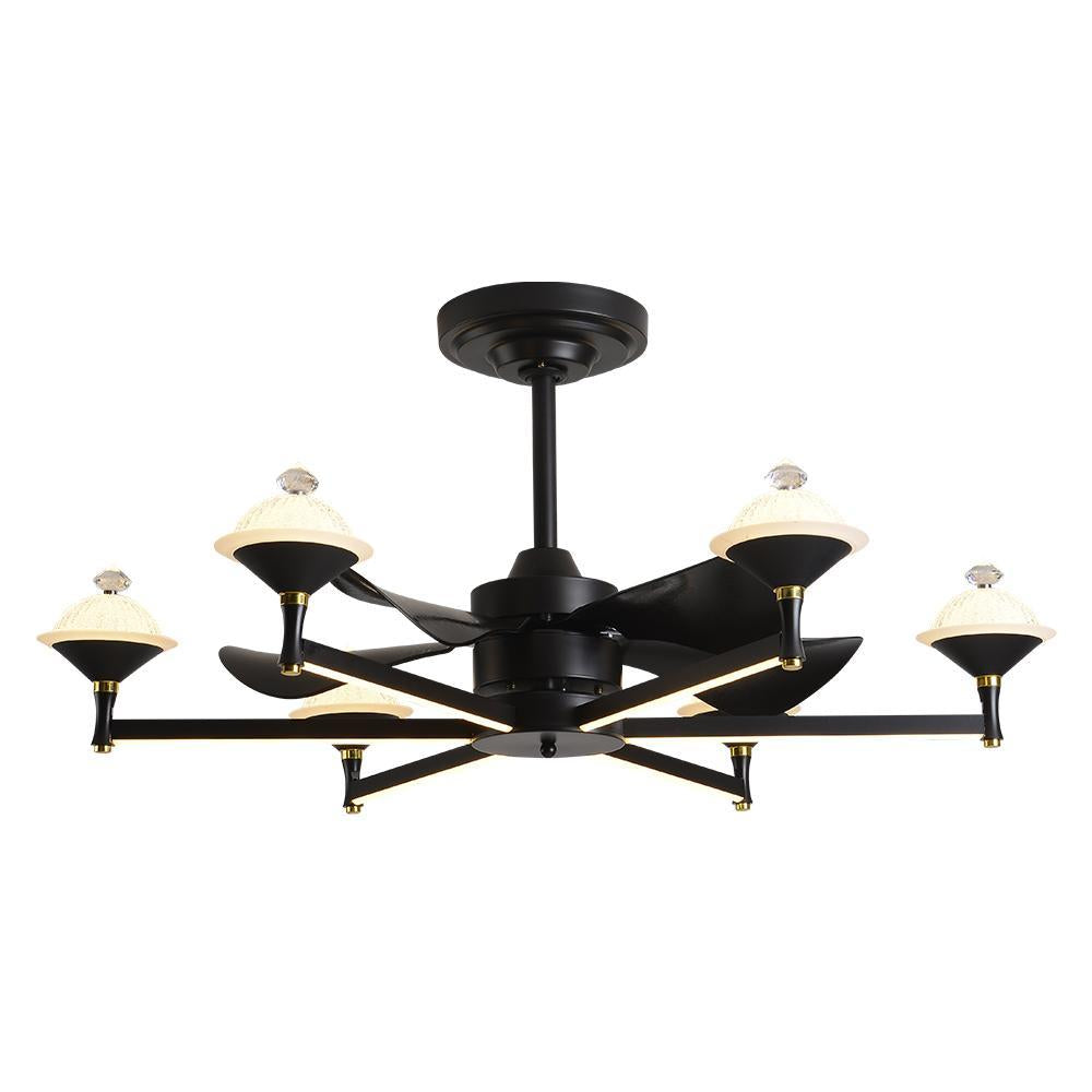 LAMPA Ceiling Fan Chandelier with LED Light, 6 Speeds & Remote Control