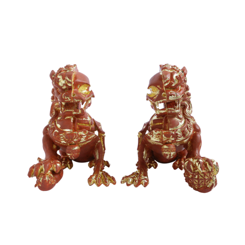 "XXRAY PLUS: 8"" Foo Dogs (Terracotta Set) Signed by artist"