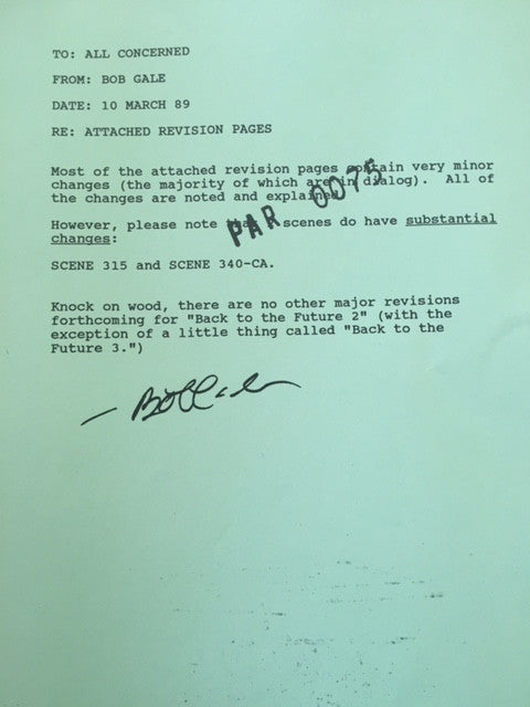 BTTF - Paradox (BTTF 2 and 3) Script Revisions 10 MARCH 89, 9 Mar 89, 8 Mar 89,  6 Mar 89, REPRODUCTION