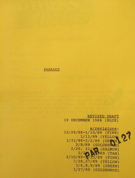 Paradox (BTTF 2 and 3) Script Revisions 3/27/89
