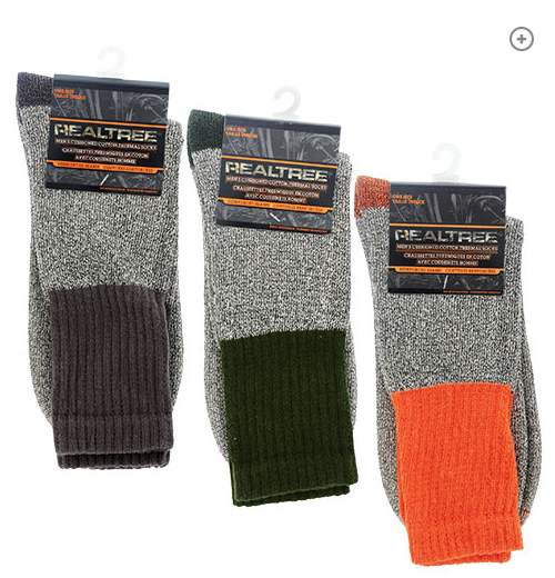 3-Pair, REALTREE Men's Cushioned Cotton Thermal Socks, One Size Fits Most …