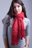 Red Hot Salsa Fluffy Scarf / Slubby Tassels