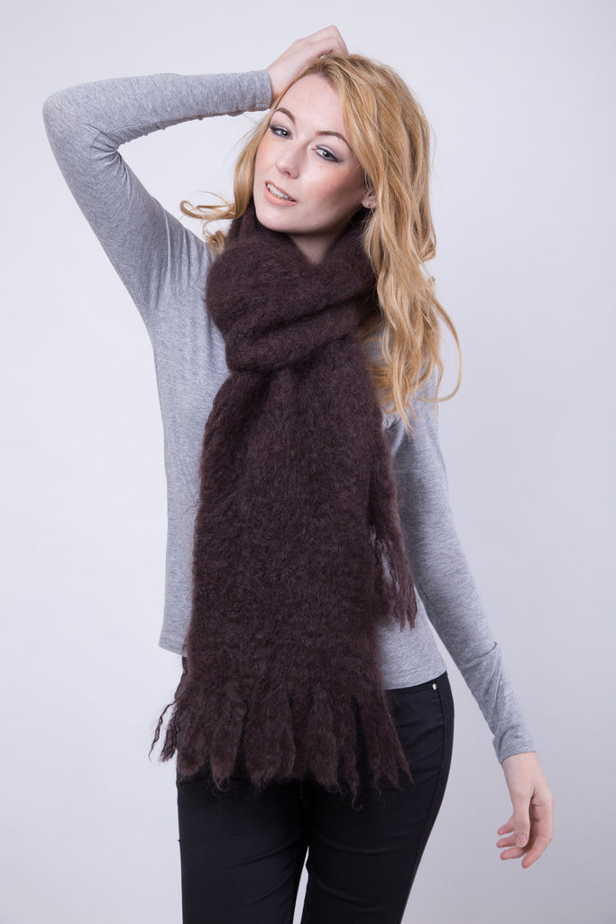 Chocolate Longer Length Fluffy Scarf / Fluffy Tassels