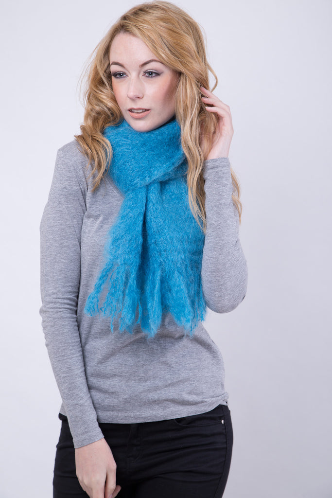 Bright Turquoise Fluffy Scarf / Fluffy Tassels