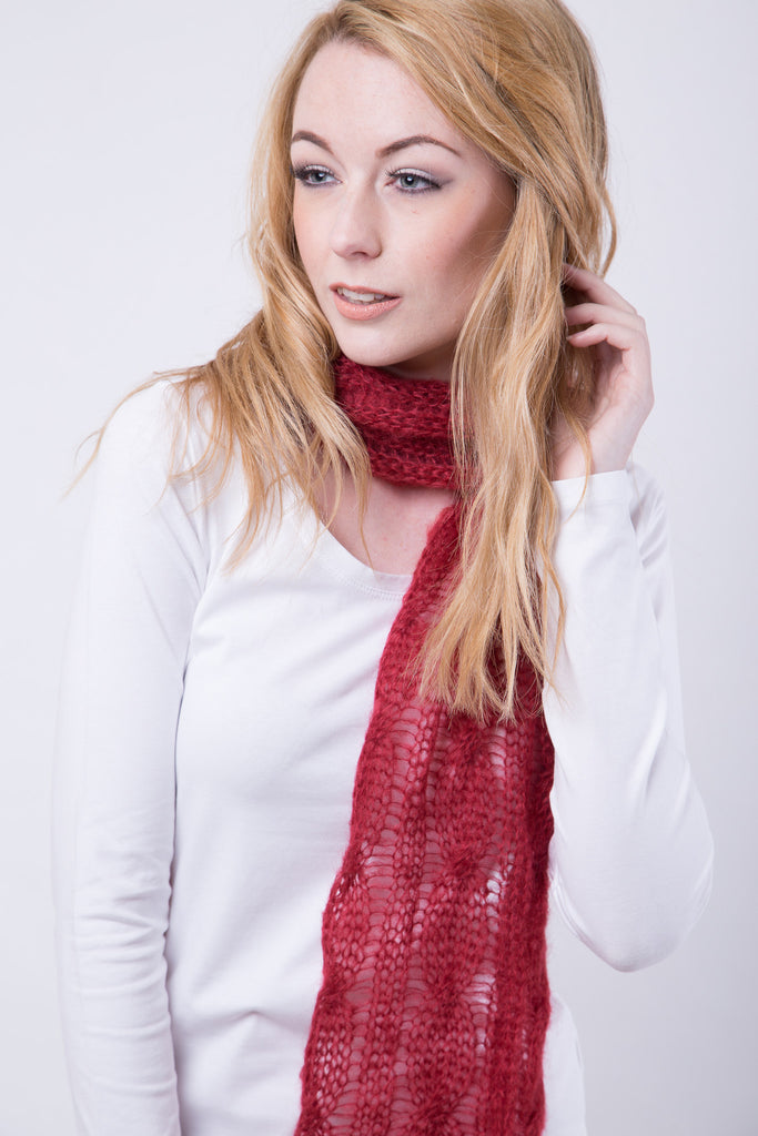 Burnt Red Cable Scarf