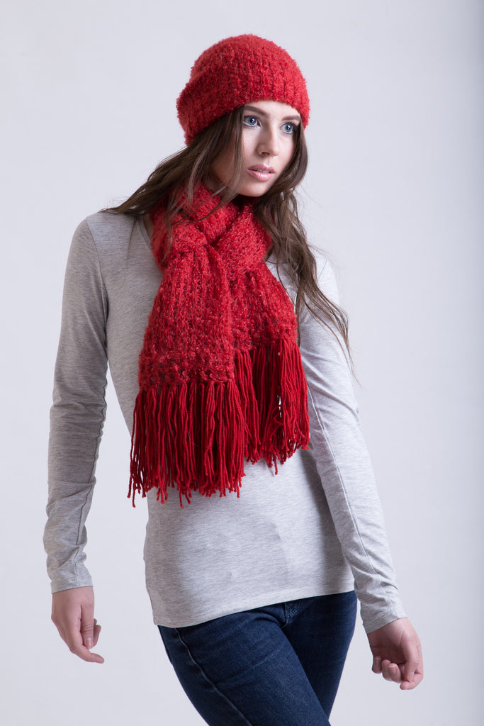 Red Hot Salsa Boucle Scarf / Wool Tassels