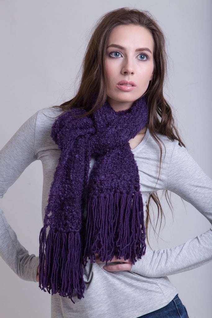 Dark Blue Plum Boucle Scarf / Wool Tassels