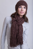 Chocolate Boucle Scarf / Wool Tassels