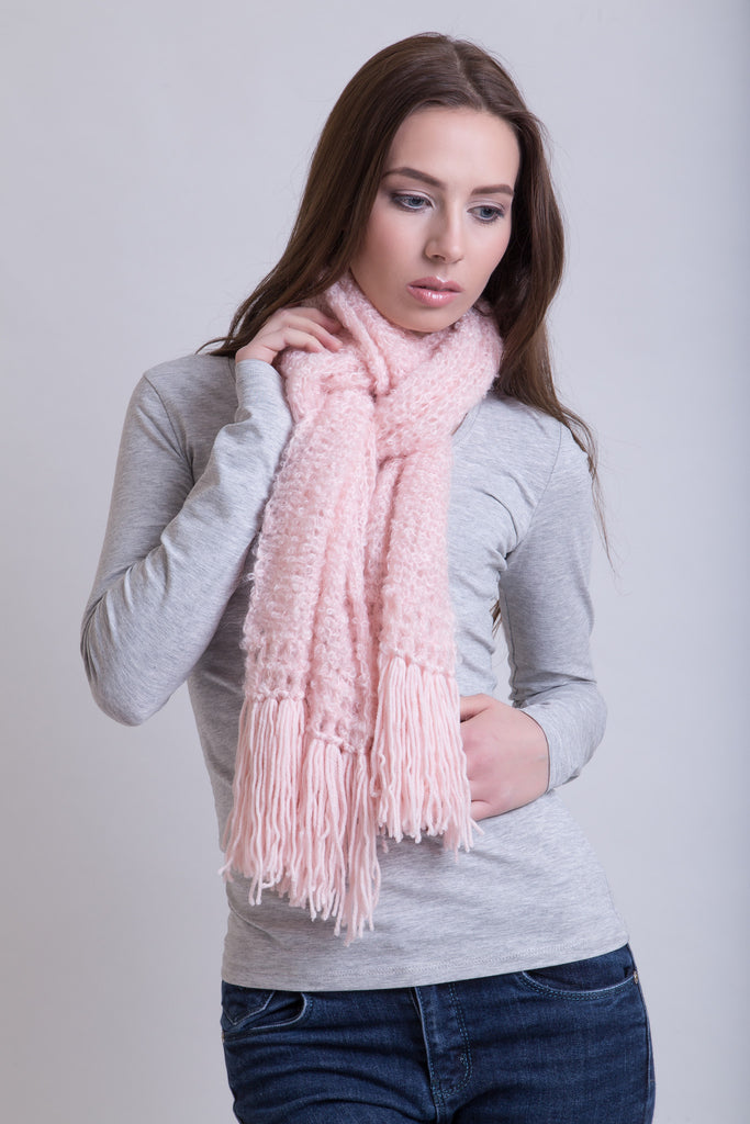 Ice Pink Boucle Scarf / Wool Tassels