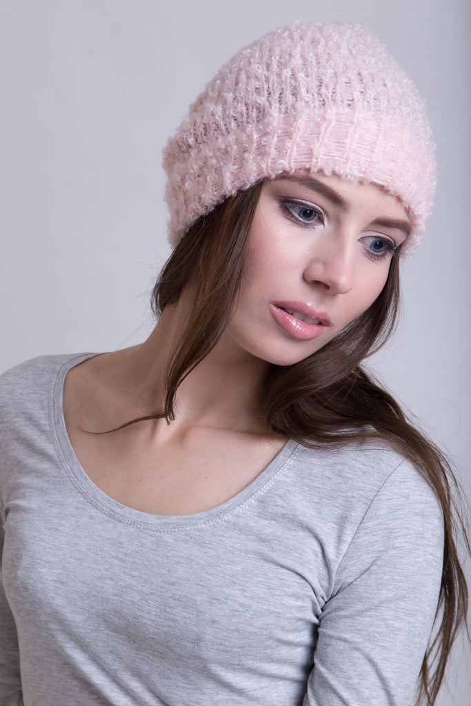 Ice Pink Boucle Beanie