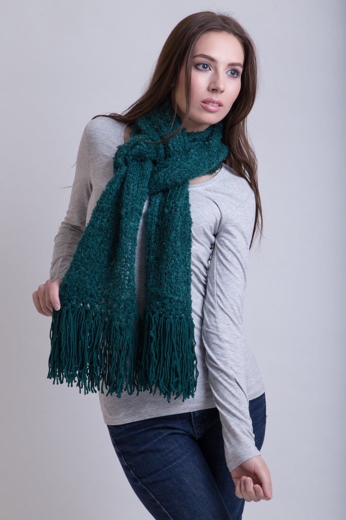 Bottle Green Boucle Scarf / Wool Tassels