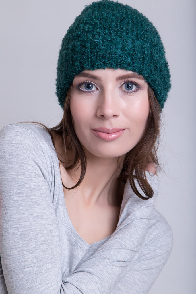 Bottle Green Boucle Beanie