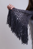 Charcoal Boucle Scarf / Wool Tassels