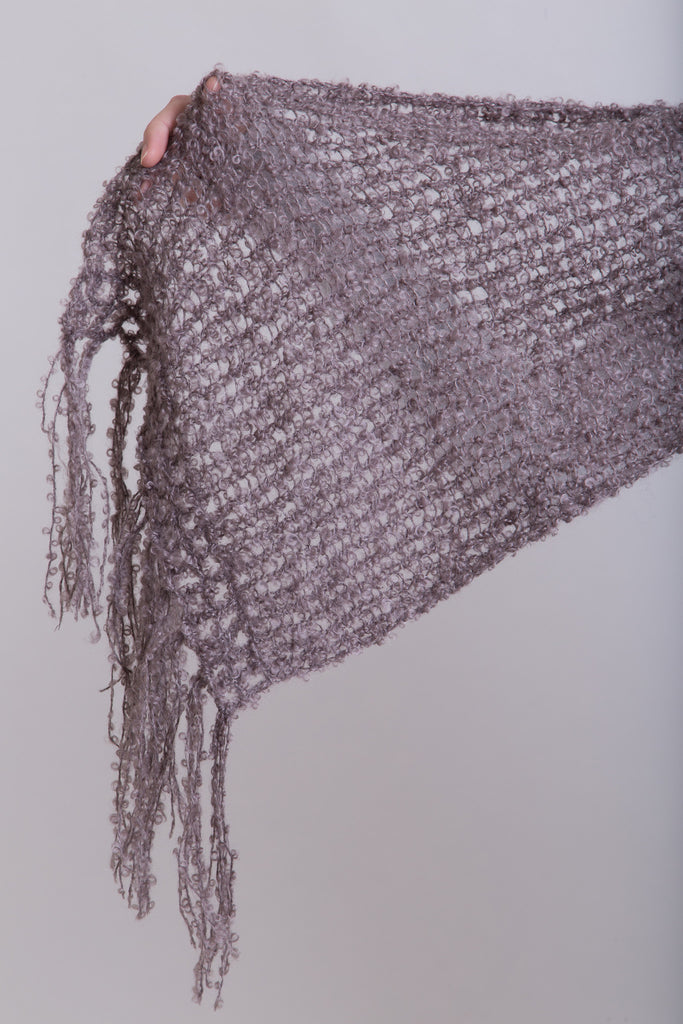 Taupe Boucle Scarf / Boucle Tassels