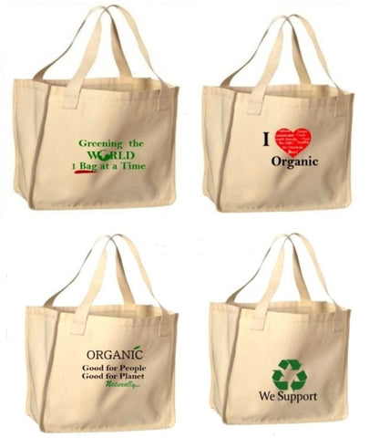 Reusable Shopping Bags-Eco Prints (4 Pack)
