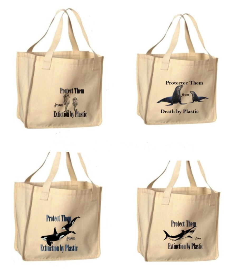 Reusable Shopping Bags-Marine Mammal Prints
