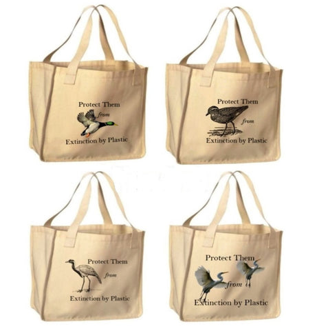 Reusable Shopping Bags- Water Fowls Print