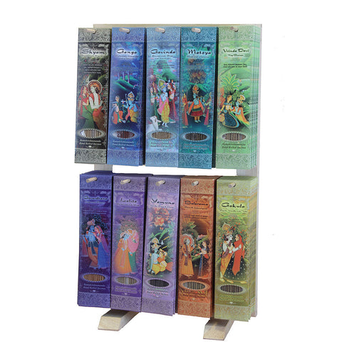 Display Rack Vertical - 10  Fragrances Incense Sticks - 130 Packs