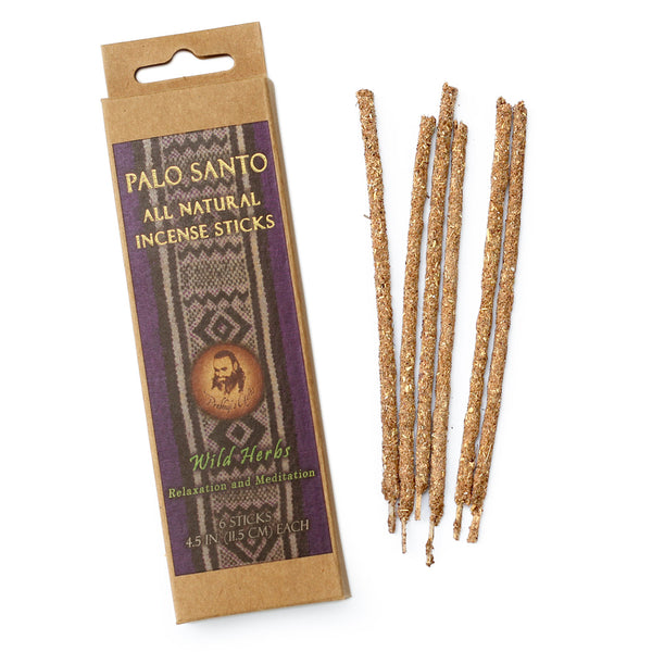 Palo Santo and Wild Herbs Incense Sticks - Relaxation & Meditation -  6 Incense Sticks