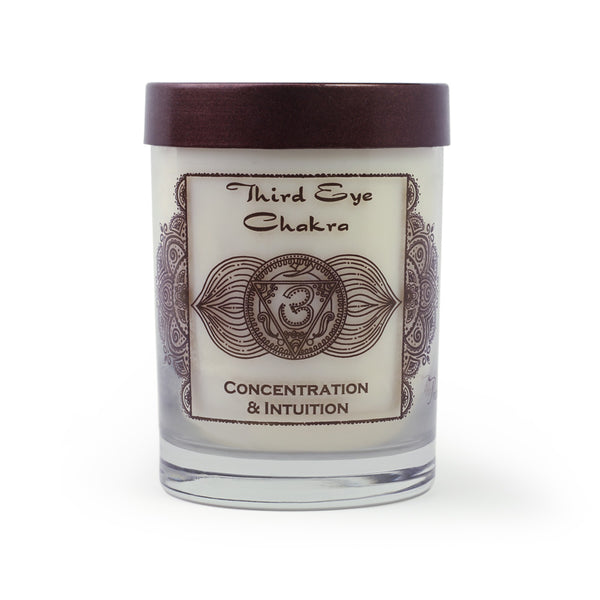 Soy Candle for Chakra Meditation Scented with Essential Oils | Third Eye Chakra Ajna | Indian Jasmine | Concentration and Intuition - 10.5oz