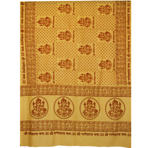 Meditation Yoga Prayer Shawl - Ganesh - Yellow Large