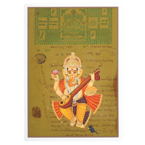 Greeting Card - Rajasthani Miniature Painting - Ganesh Playing Veena - 5