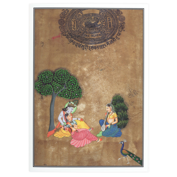 Greeting Card - Rajasthani Miniature Painting - Krishna with Gopis - 5