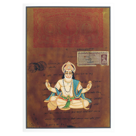 Greeting Card - Rajasthani Miniature Painting - Seated Hanuman - 5