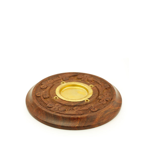 Incense Burner - Wooden Round Plate Flowers - 4 inches