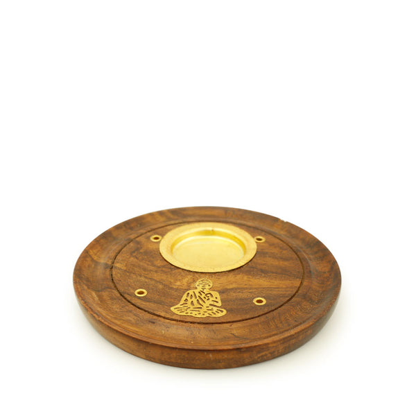 Incense Burner - Wooden Round Plate Buddha - 4 inches