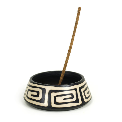Incense Burner - Peruvian Ceramic Incense Burner for Stick and Cone Incense - 4.5