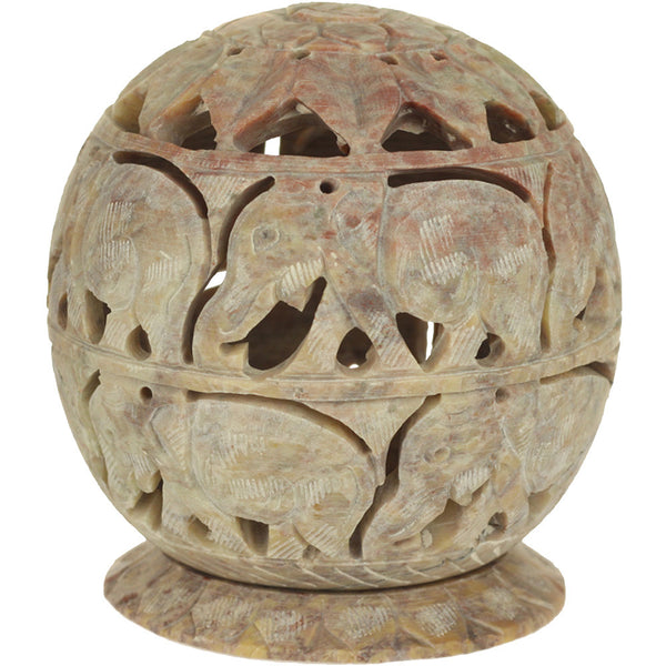 Burner for Cones and Candle Holder - Soapstone Carved T-Lite Ball - Elephant 3.5 inches