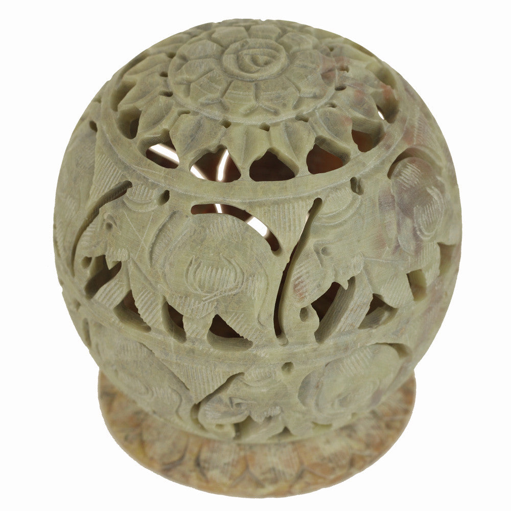 Burner Wholesale And Retail Natural Soapstone T Lite Candle Ball Carved Elephant 3 5 Prabhuji S Gifts