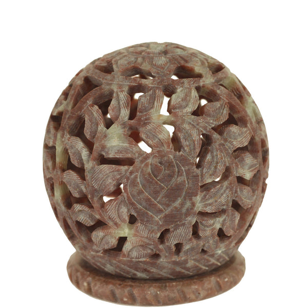 Burner for Cones and Candle Holder - Soapstone Carved T-Lite Ball - Leaves 3 inches