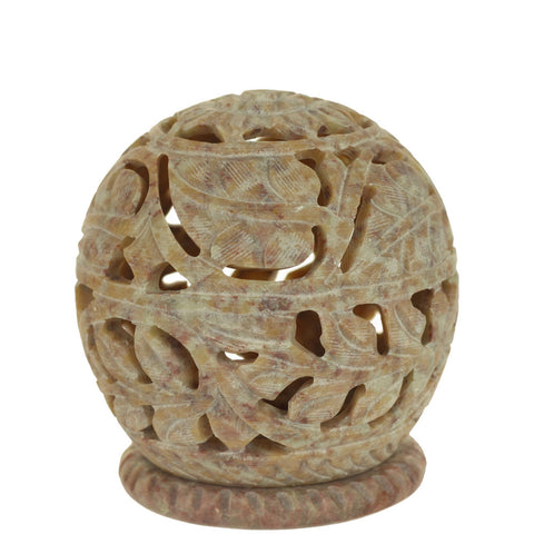 Burner for Cones and Candle Holder - Soapstone Carved T-Lite Ball - Large leaves 3 inches