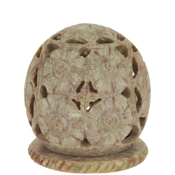 Burner for Cones and Candle Holder - Soapstone Carved T-Lite Ball - Flowers 3 inches