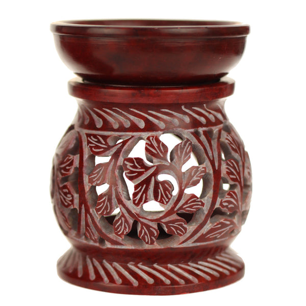 Oil Diffuser - Red Soapstone Oil Burner Round leaves 4