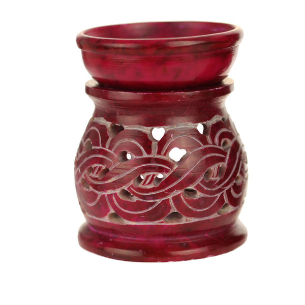 Oil Diffuser - Red Soapstone Oil Burner Carved 3.25