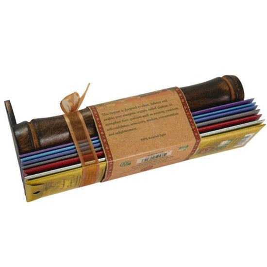 Incense Gift Set - Bamboo Burner + 7 Chakra Incense Sticks Packs & Holiday Greeting - Peace
