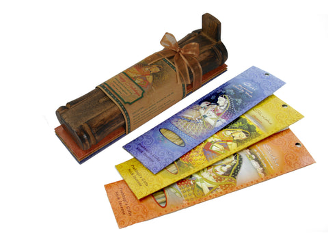 Incense Gift Set - Bamboo Burner + 3 Meditation Incense Sticks Packs & Holiday Greeting - Happy Holidays