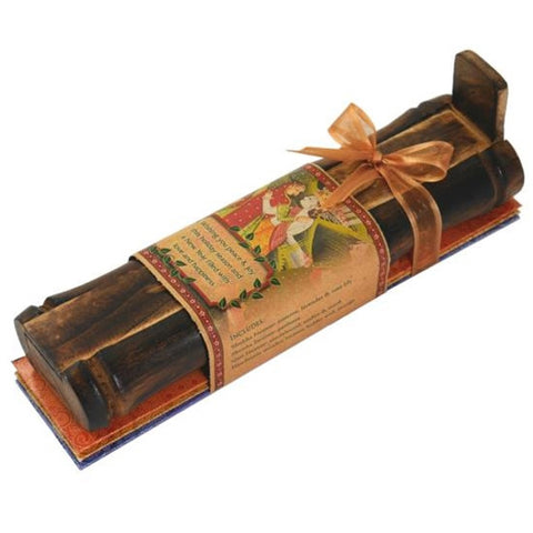 Incense Gift Set - Bamboo Burner + 3 Meditation Sticks Packs & Holiday Greeting - Peace