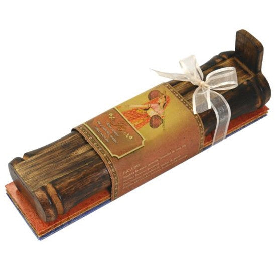 Incense Gift Set - Bamboo Burner + 3 Meditation Sticks Packs & Holiday Greeting - Joy