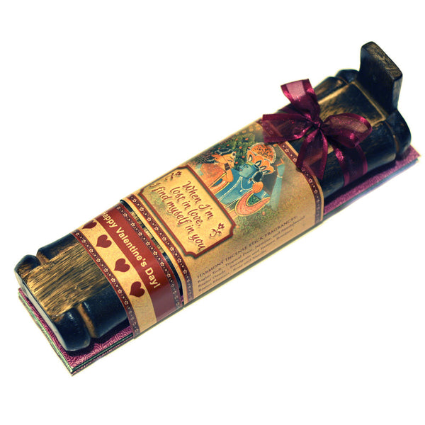 Incense Gift Set - Bamboo Burner + 3 Meditation Incense Sticks Packs & Love Greeting - Lost in Love