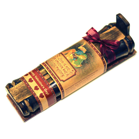 Incense Gift Set - Bamboo Burner + 3 Meditation Incense Sticks Packs & Love Greeting - Divine Mystery