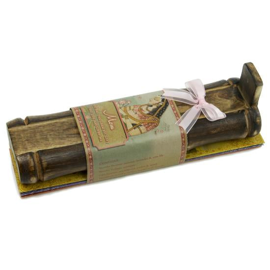 Incense Gift Set - Bamboo Burner + 3 Meditation Incense Sticks Packs & Greeting for Mom - You are the Greatest Gift