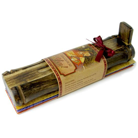 Incense Gift Set - Bamboo Burner + 3 Meditation Incense Sticks Packs & Greeting - Thinking of you!
