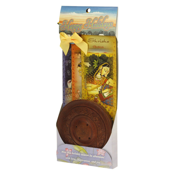 Incense Gift Set - Wood Round Burner + 3 Meditation Incense Sticks Packs & Holiday Greeting